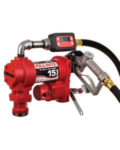 12V DC 15GPM Heavy-Duty Fuel Transfer Pump with Digital In-Line Meter, Manual Nozzle