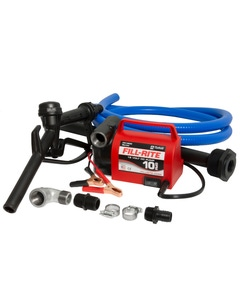 12V DC, 10 GPM Portable Diesel Fuel Only Transfer Pump (NPT Ports,  Nozzle, Hose, Suction Pipe Combination)
