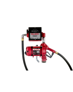 120V AC 25 GPM Continuous Duty Fuel Transfer Pump with Mechanical Meter and Unleaded Auto Nozzle